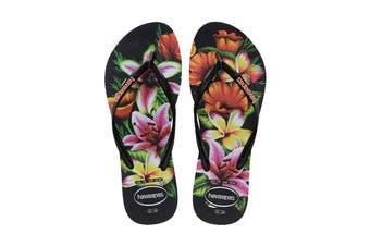 Havaianas Slim Floral Thongs (Black/Black, Size 35/36 BR)