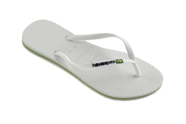 Havaianas Slim Brasil Thongs (White, Size 35/36 BR)