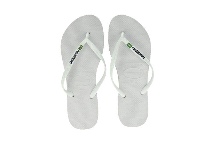 Havaianas Slim Brasil Thongs (White, Size 39/40 BR)