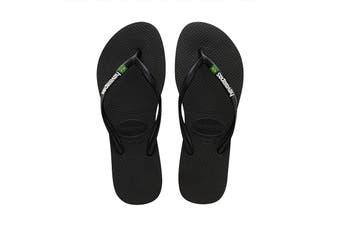Havaianas Slim Brasil Thongs (Black, Size 39/40 BR)