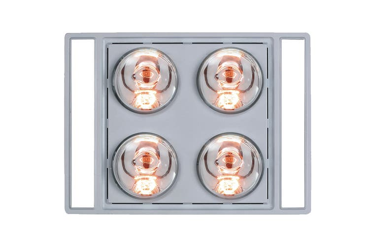 Heller 3-In-1 4 Heat Lamp Ducted Bathroom Heater with 2 Led Light Panels - Silver (LRBH4ASTRA-S)