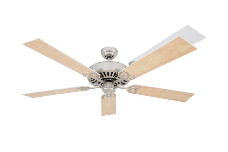 Heller 1300mm 5 Reversible Blade Ceiling Fan - Washed Oak/White (SHELBY)