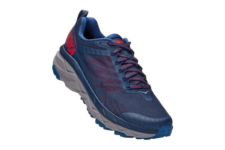Hoka One One Men's Challenger ATR 5 Trial Running Shoe (Dark Blue/High Risk Red, Size 10.5 US)