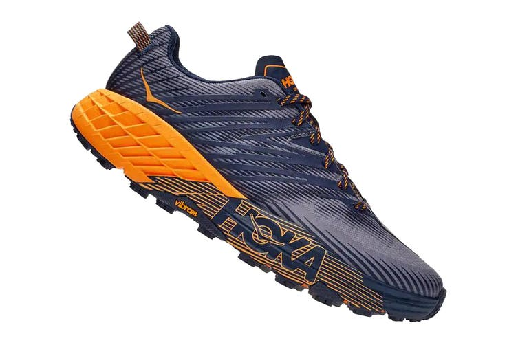 Hoka One One Men's Speedgoat 4 Running Shoe (Black Iris/Bright Marigold, Size 10 US)