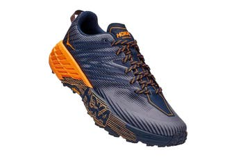 Hoka One One Men's Speedgoat 4 Running Shoe (Black Iris/Bright Marigold, Size 8.5 US)