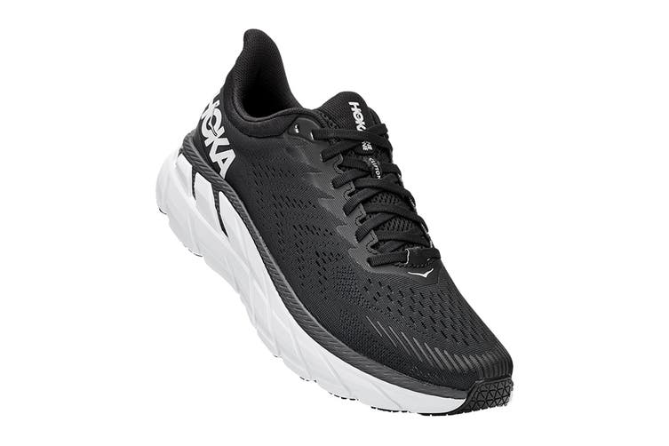 Hoka One One Men's Clifton 7 Running Shoe (Black/White, Size 10 US)