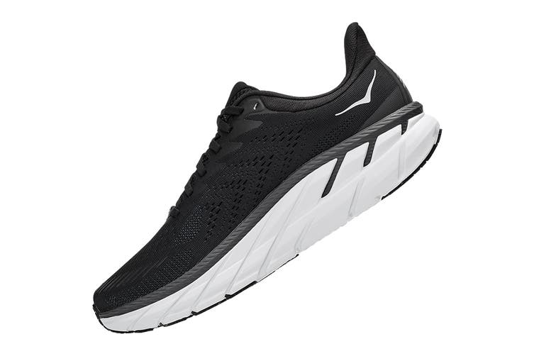 Hoka One One Men's Clifton 7 Running Shoe (Black/White, Size 12 US)
