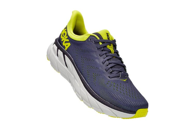 Hoka One One Men's Clifton 7 Running Shoe (Odyssey Grey/Evening Primrose, Size 10.5 US)
