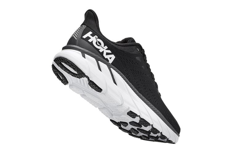 Hoka One One Women's Clifton 7 Running Shoe (Black/White, Size 6 US)