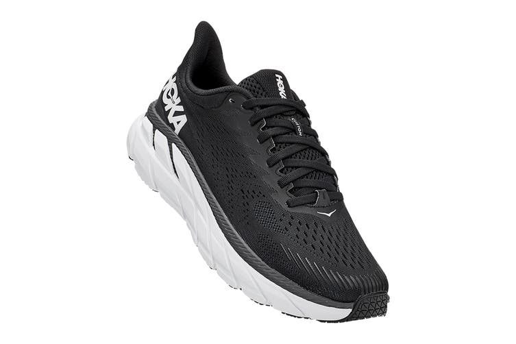 Hoka One One Women's Clifton 7 Running Shoe (Black/White, Size 7 US)