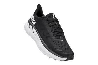 Hoka One One Women's Clifton 7 Running Shoe (Black/White, Size 8 US)