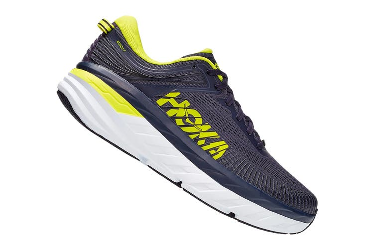 Hoka One One Men's Bondi 7 Running Shoe (Odyssey Grey/Deep Well, Size 9.5 US)