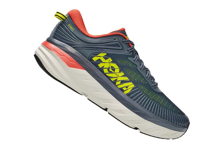 Hoka One One Men's Bondi 7 Running Shoe (Turbulence/Chili, Size 12 US)
