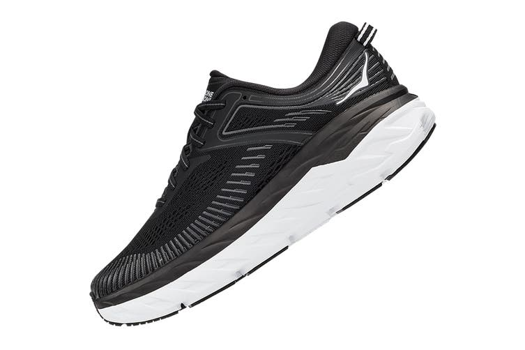 Hoka One One Women's Bondi 7 Running Shoe (Black/White, Size 10 US)
