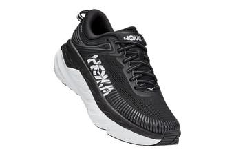 Hoka One One Women's Bondi 7 Running Shoe (Black/White, Size 7 US)