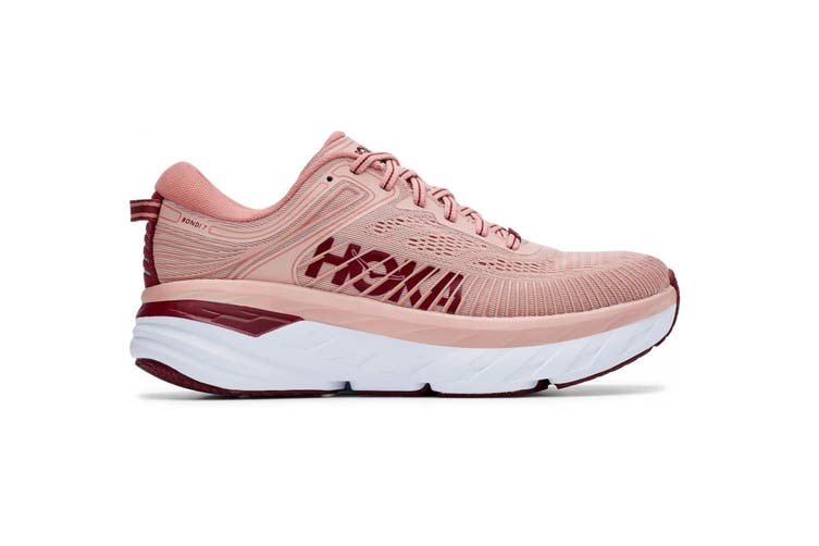 Hoka One One Women's Bondi 7 Running Shoe (Misty Rose/Cordovan, Size 9 US)