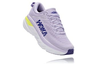 Hoka One One Women's Bondi 7 Running Shoe (Purple Heather/Clematis Blue, Size 7 US)