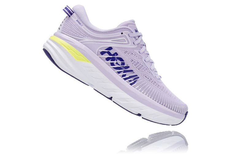 Hoka One One Women's Bondi 7 Running Shoe (Purple Heather/Clematis Blue, Size 9.5 US)