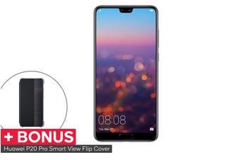Huawei P20 Pro Dual SIM with BONUS Smart View Flip Cover (128GB, Black)