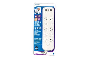 Jackson 10 Outlet Surge Protected Powerboard with 6 USB Ports