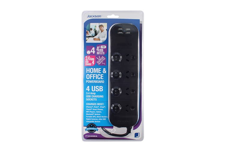 Jackson 4 Outlet Surge Protected Individual Switch Powerboard & 4 USB Ports