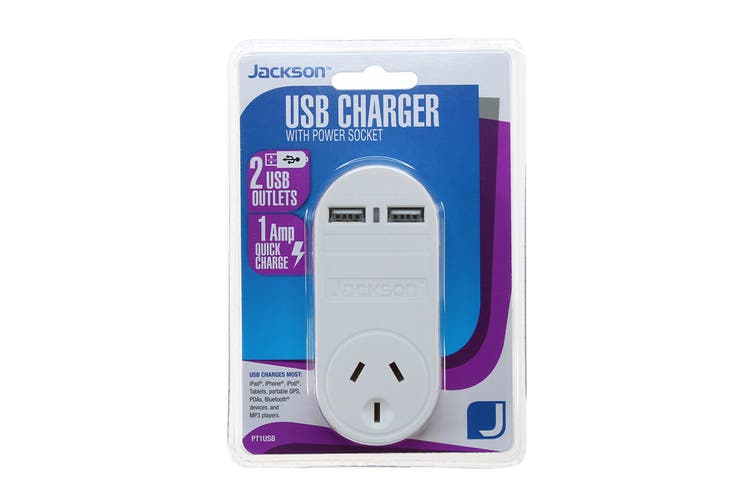 Jackson 2 USB Charger with Mains Outlet
