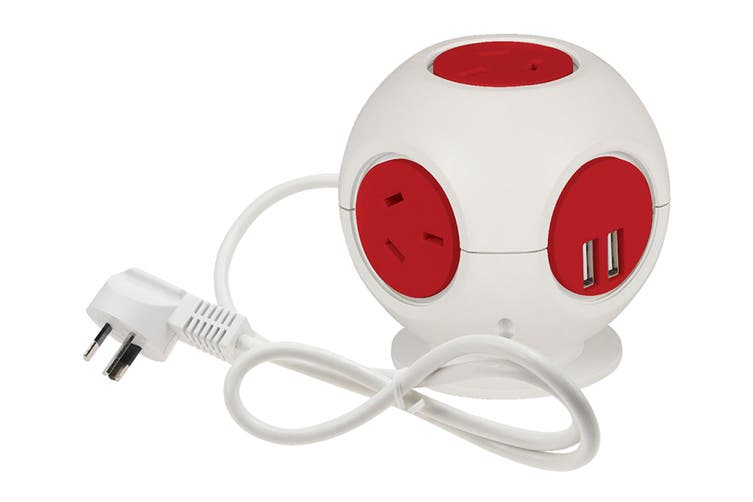 Jackson 4 Outlet Power Block with 2x USB Outlets (Red)