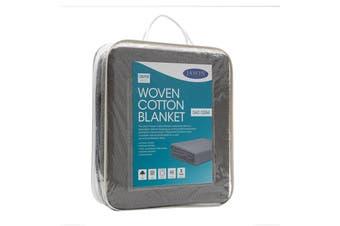 Jason Woven Cotton Blanket - Charcoal (Queen)