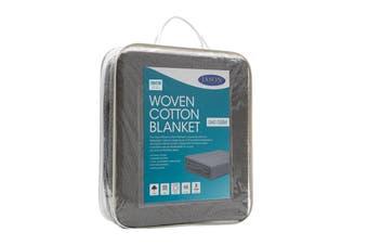 Jason Woven Cotton Blanket - Charcoal (Single)