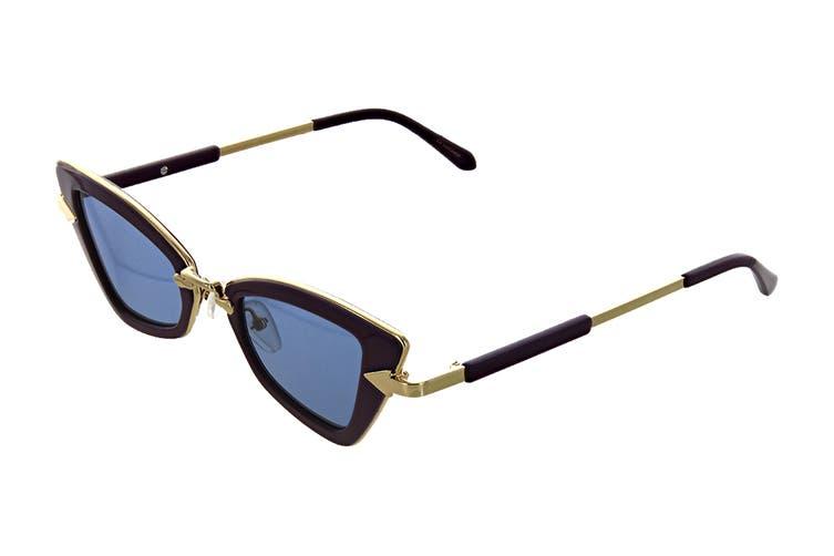 Karen Walker BADAPPLE Sunglasses (Ultra Violet, Size 46-22-140) - Blue Mono