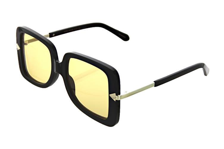 Karen Walker EDEN Sunglasses (Black, Size 53-20-145) - Mustard Tint