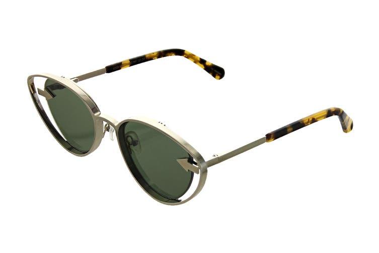 Karen Walker KISSY Sunglasses (Gold/Tortoise, Size 51-20-140) - Green Mono