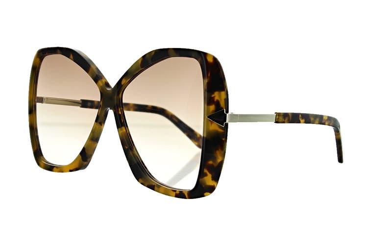 Karen Walker MARY Sunglasses (Crazy Tortoise, Size 60-11-140) - Brown Gradient
