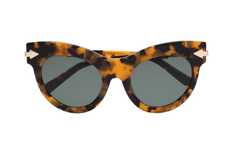Karen Walker MISS Sunglasses (Crazy Tortoise, Size 52-22-145) - Green