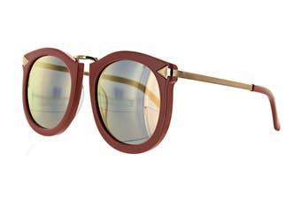 Karen Walker SUPER Sunglasses (Rose Pink/Shiny Gold, Size 52-23-145) - Bronze Mirror