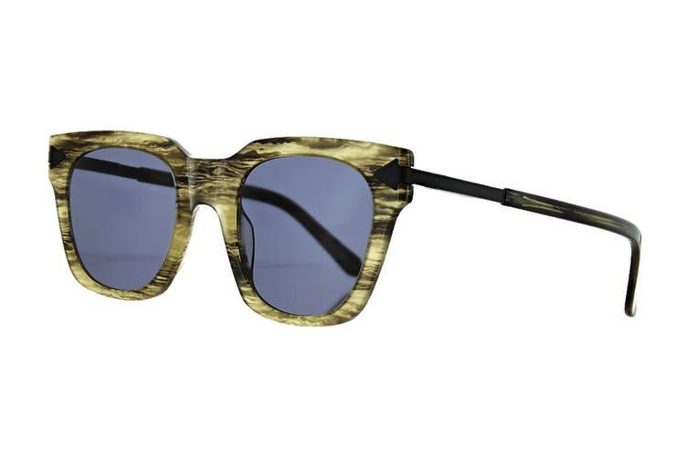 Karen Walker TRAVIS Sunglasses (Horn/Black, Size 50-24-150) - Smoke Mono