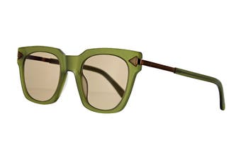 Karen Walker TRAVIS Sunglasses (Matte Khaki, Size 50-24-150) - Red Brown