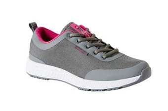 King Gee Women's Superlite Mesh Lace Shoe (Grey, Size 5)