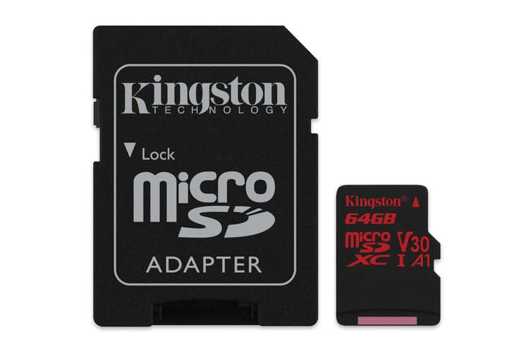 Kingston 64GB microSDXC Canvas React 100Mb/s U3 UHS-I V30 A1 Card with SD Adapter
