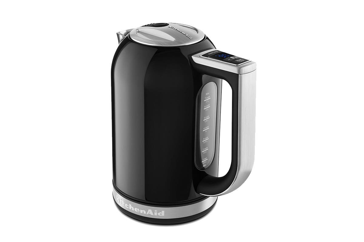 KitchenAid 1.7L Electric Kettle - Onyx Black (5KEK1835AOB) With variable temperature settings and a 30-minute hold temperature feature, the KitchenAid 1.7L Electric Kettle makes a stylish and chic addition to any kitchen space.   Whopping 1.7L capacity Digital display and keep warm function Extra wide illuminated water window Removable base and scale filter