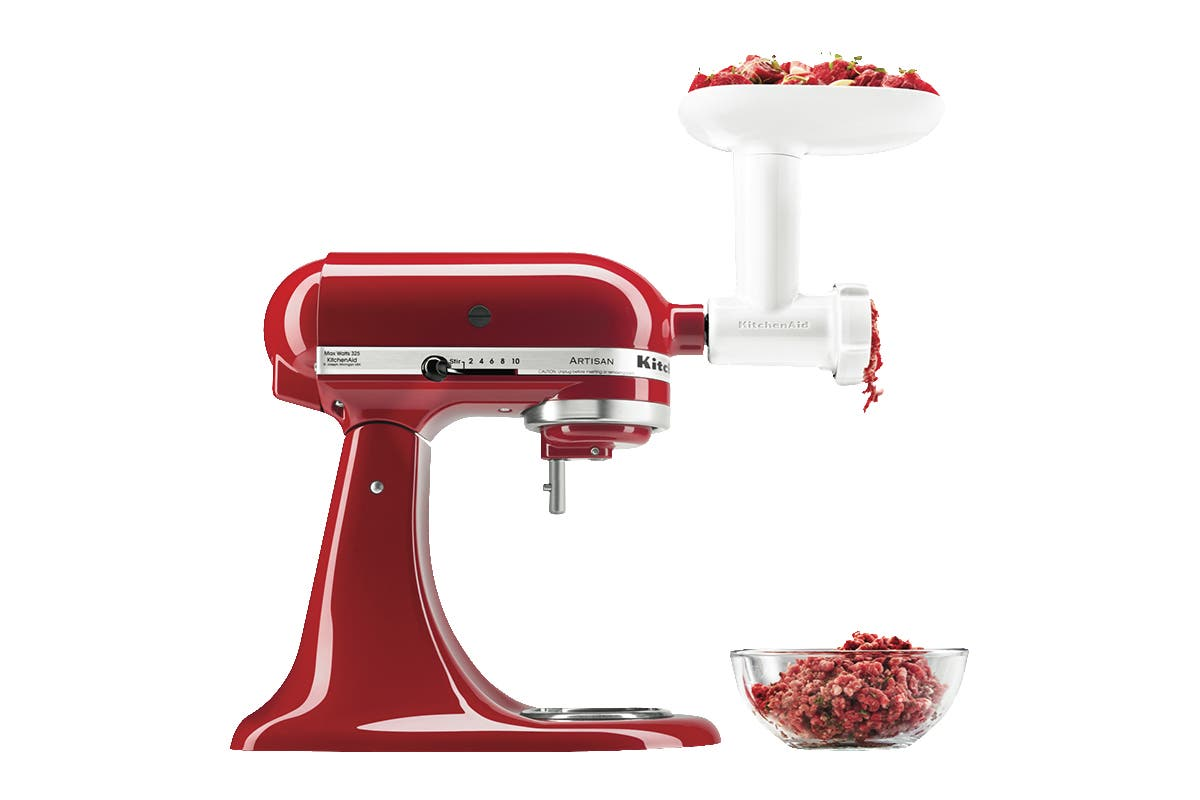 KitchenAid Food Grinder Attachment The KitchenAid Food Grinder Attachment is designed to fit your KitchenAid Stand Mixer (sold separately). The durable attachment does professional-grade work in minutes, easily grinding fresh beef, pork, turkey and chicken for burgers.   Coarse grinding plate is great for grinding raw meats Fine grinding plate quickly grates hard cheeses Process more ingredients in one batch with large food tray Comes with food pusher Works with all KitchenAid Stand Mixers   KitchenAid Stand Mixer sold separately.