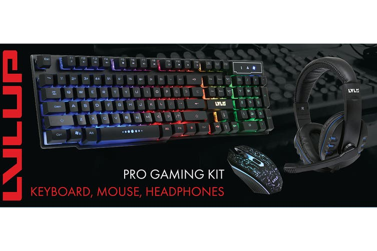 LVLUP LU745 Gaming Bundle Gaming Keyboard, Mouse & Headset (Black)
