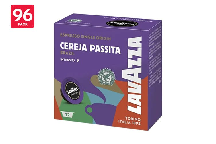 Lavazza A Modo Mio Cereja Passita Single Origin Brazil Coffee Capsules - 96 Pack (8 Packs of 12)