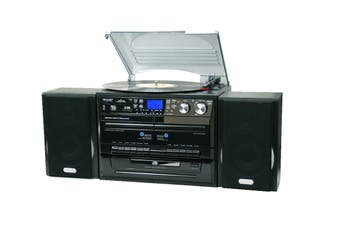 Lenoxx Home Entertainment System with CD/Turntable/Dual Cassette & Burns Digital Media (CD114BL)