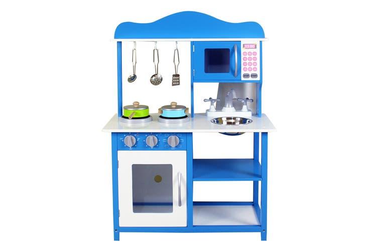 Kids Play Toy Wooden Kitchen Set - Ocean Blue (WK8079)