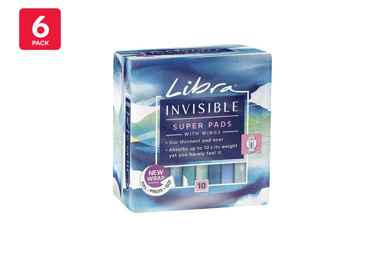 Libra Invisible Super Absorbent Pads With Wings (6 x 10 Pack)