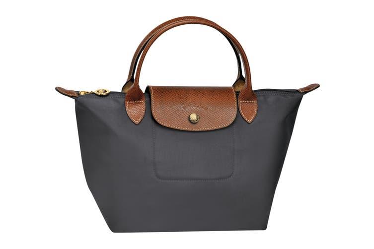 Longchamp Le Pliage Top-Handle Handbag (Small, Gun Metal)