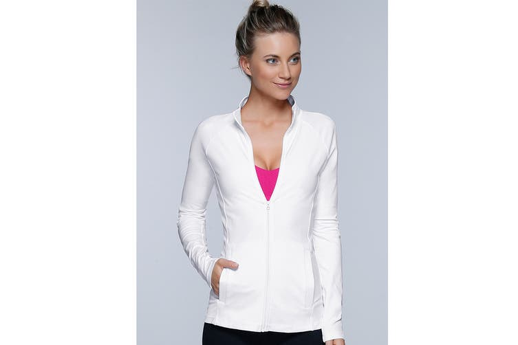 Lorna Jane Women's Fit And Fierce Zip Jacket (White, XL)