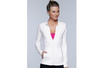 Lorna Jane Women's Fit And Fierce Zip Jacket (White)