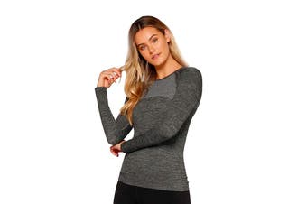 Lorna Jane Women's Rhythm Seamless Long Sleeve Top (Charcoal Marl, Size XS)